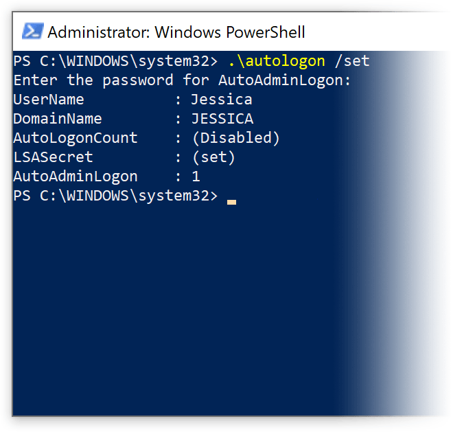 screenshot of the powershell
