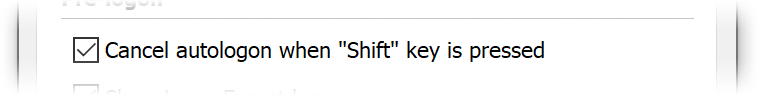 Shift key checkbox