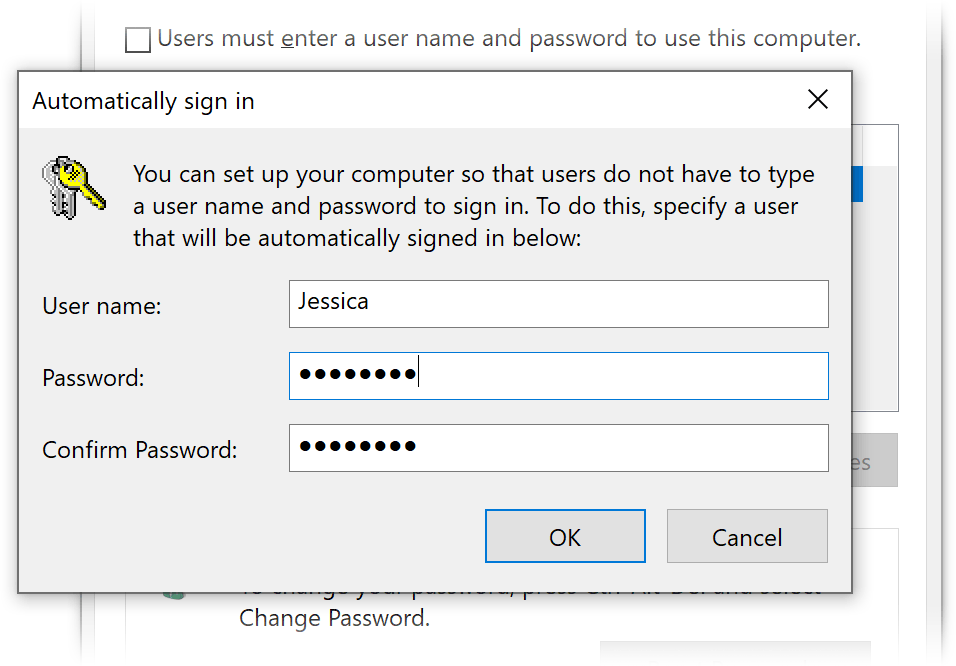 screenshot of user accounts settings window